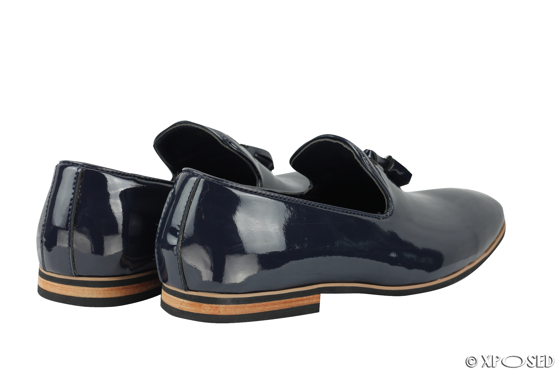 Mens Tassel Loafers Shiny Patent Leather Line Slip On Smart Casual Driving Shoes | EBay
