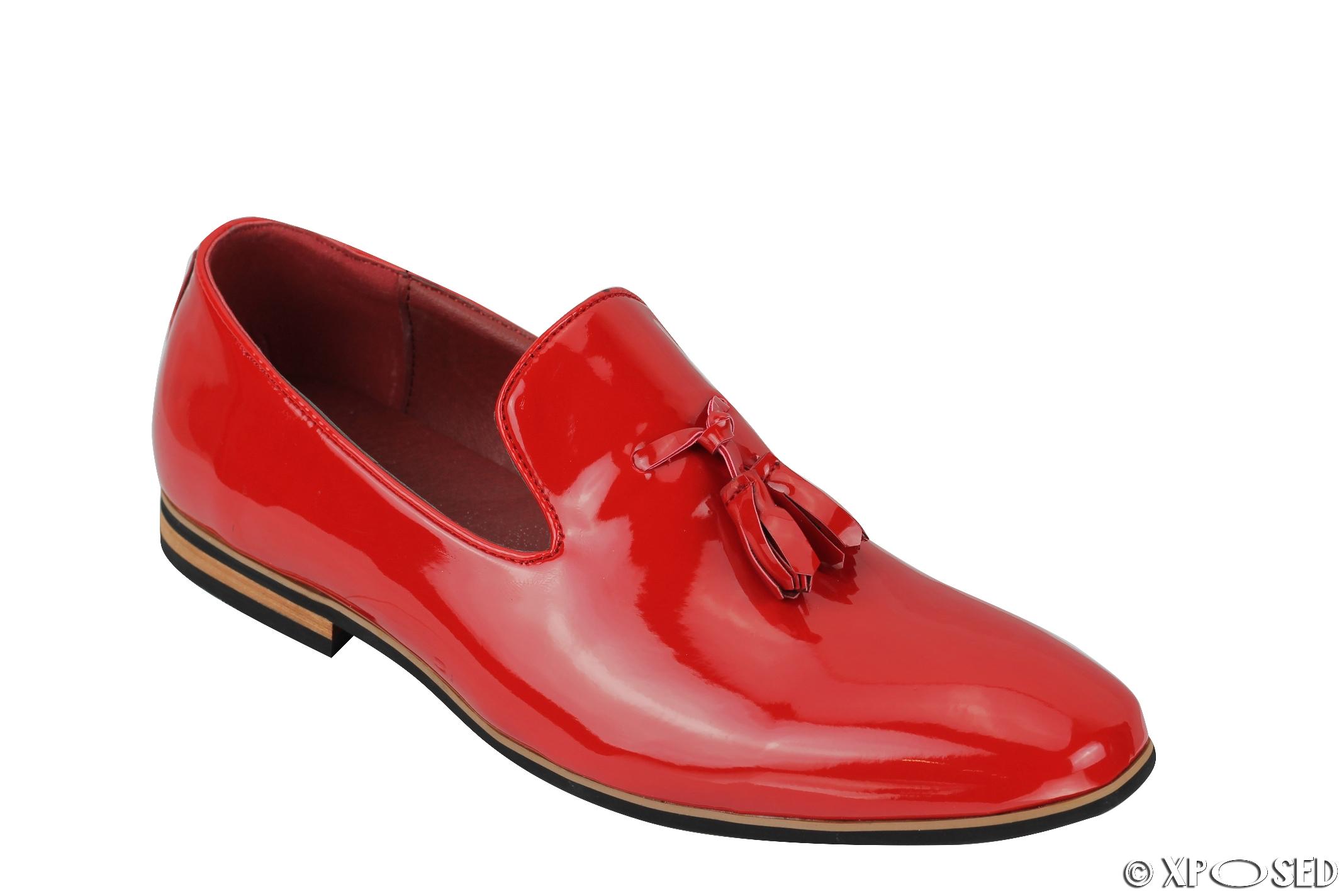 mens tassel loafers shiny patent leather line slip on