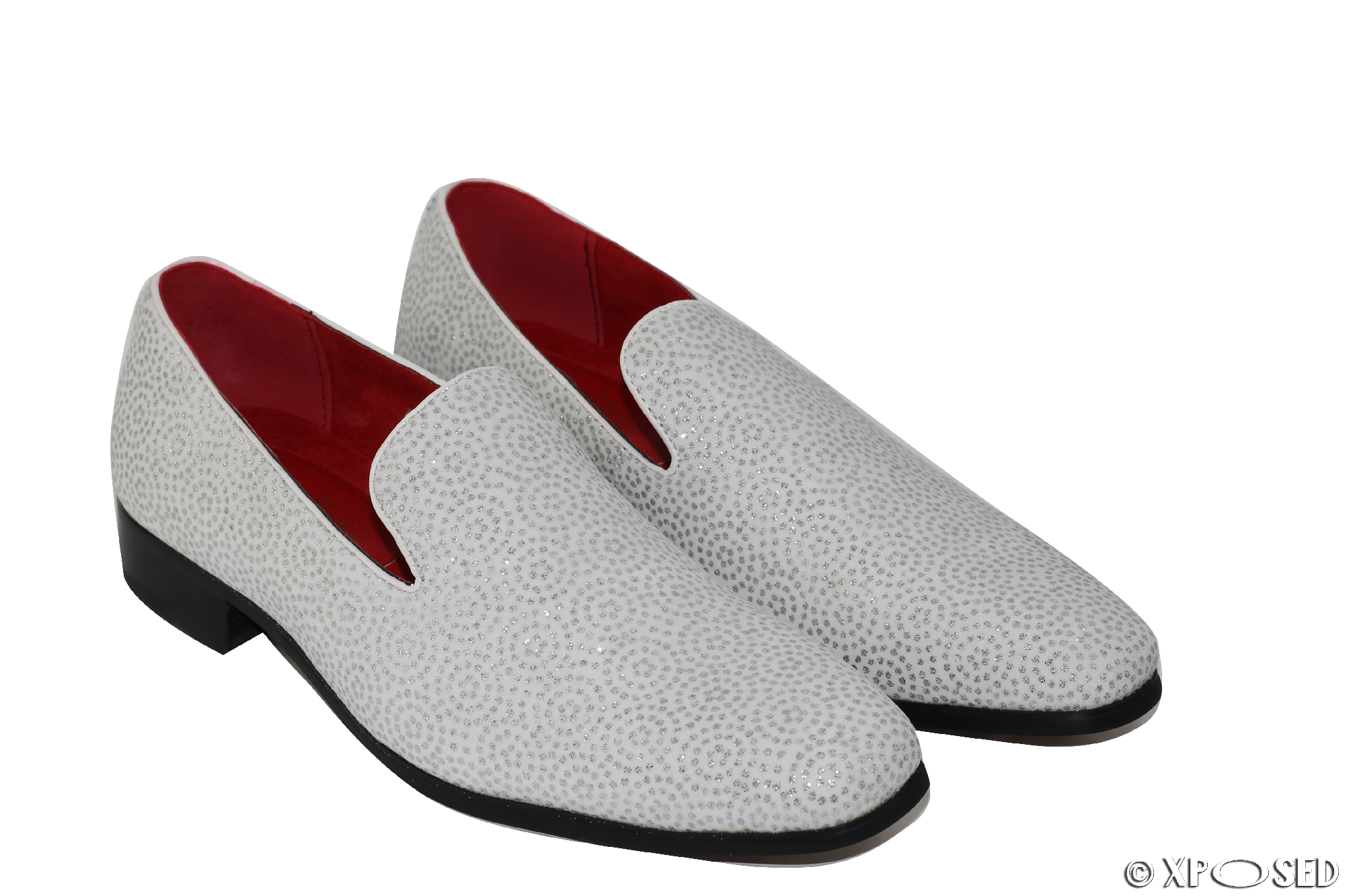 Nuevo Para hombres Cuero línea Diamond Brillo Slip On Diseñador Estilo Mocasines Negro Blanco