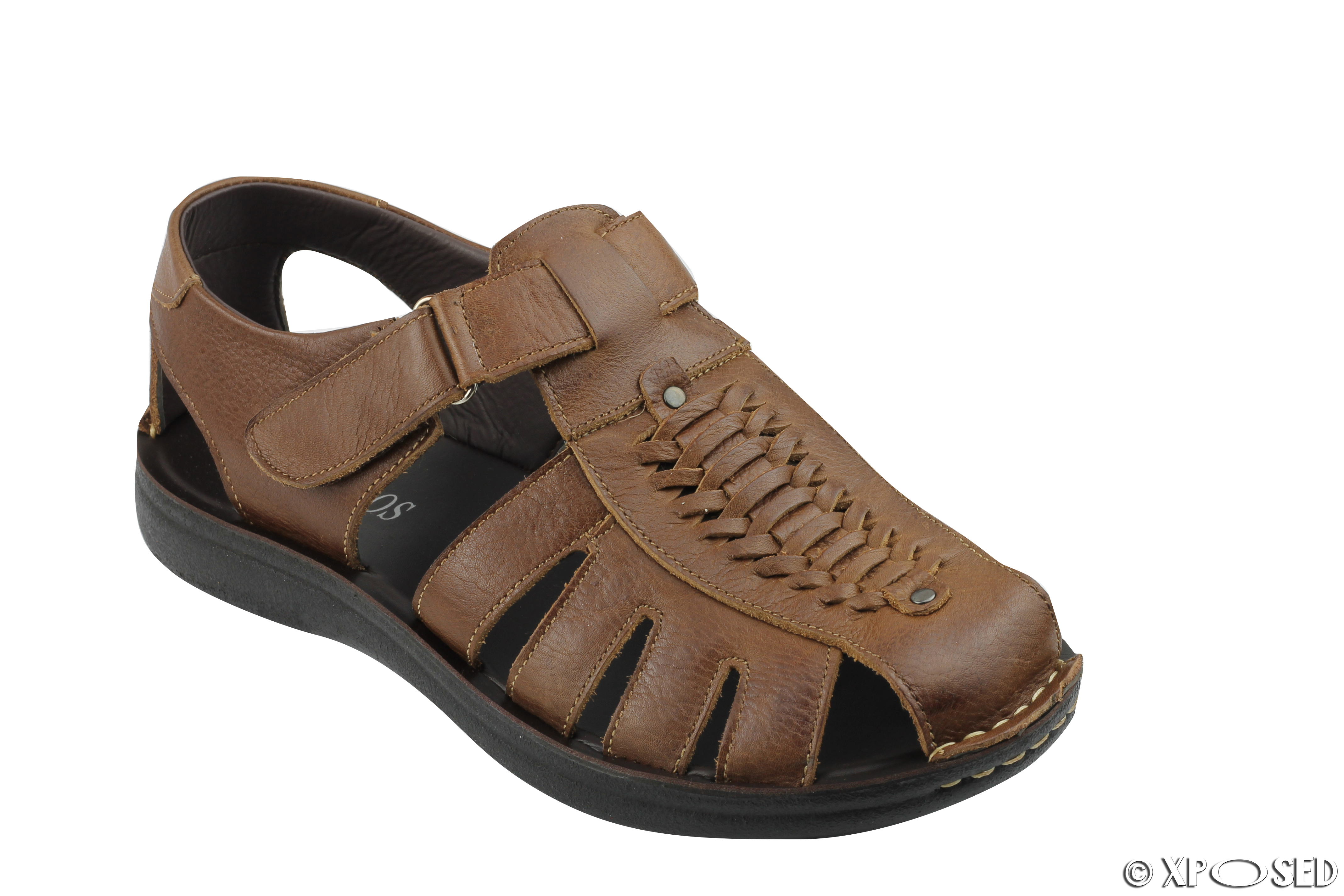 bed667c6d26602 Details about New Mens Leather Strap Fasten Beach Summer Holiday Walking Sandals  Shoes UK Size