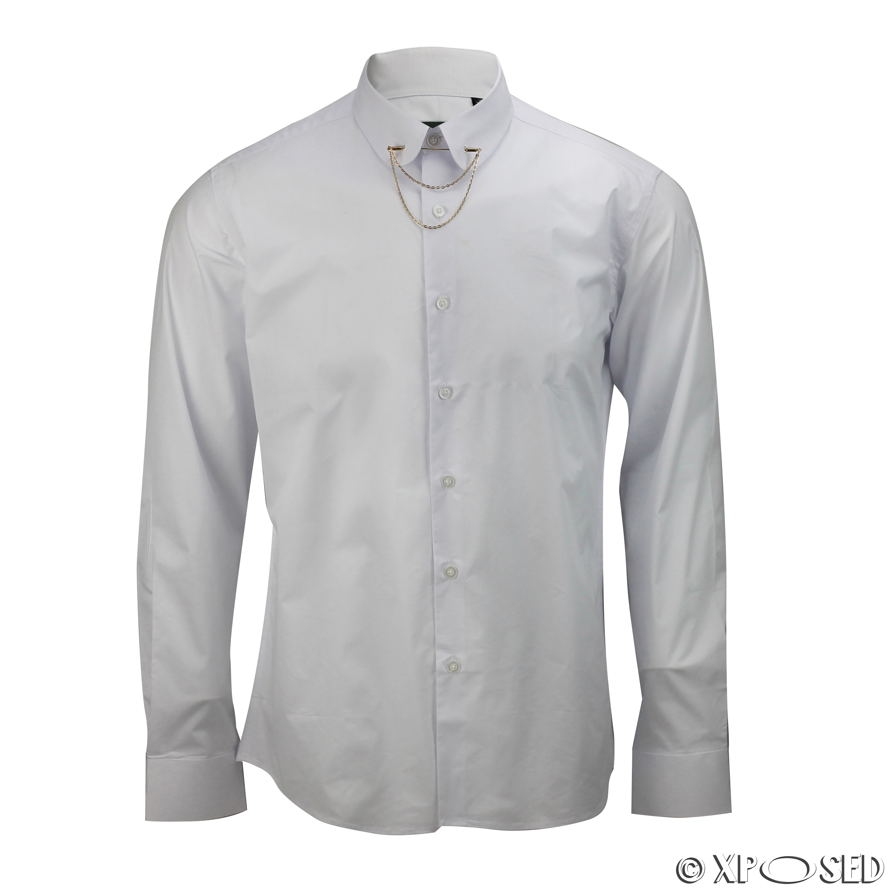 Mens shirt slim fit white black pin collar gold chain tie for Mens slim fit formal shirts uk