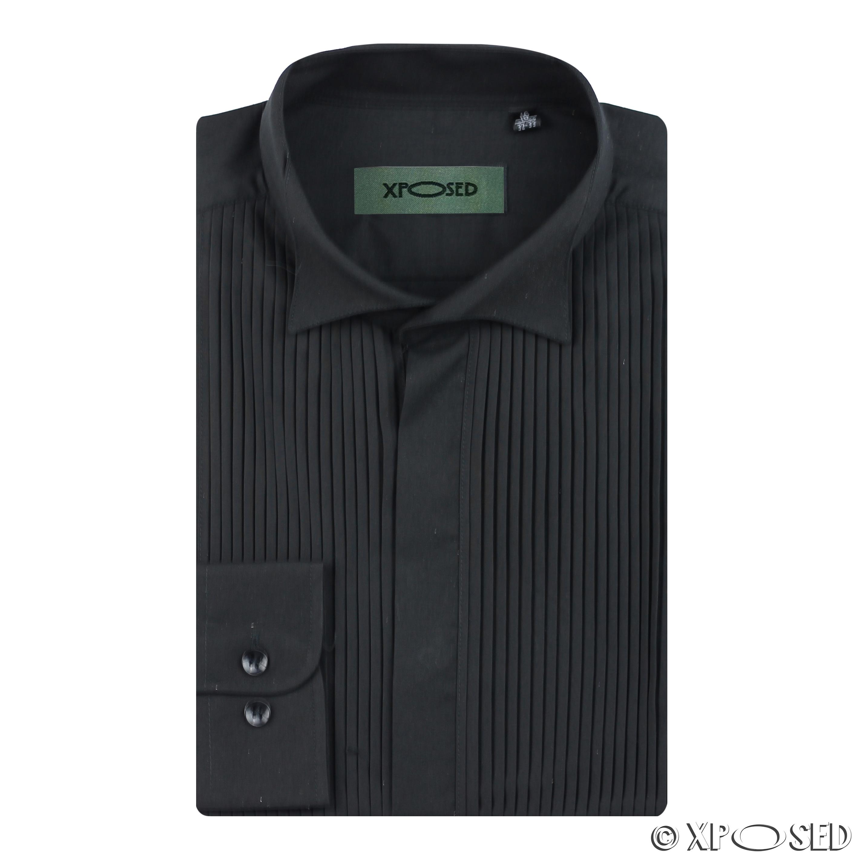 Mens Wing Collar Tuxedo Bow Tie Wedding Evening Dinner Dress Shirt ...