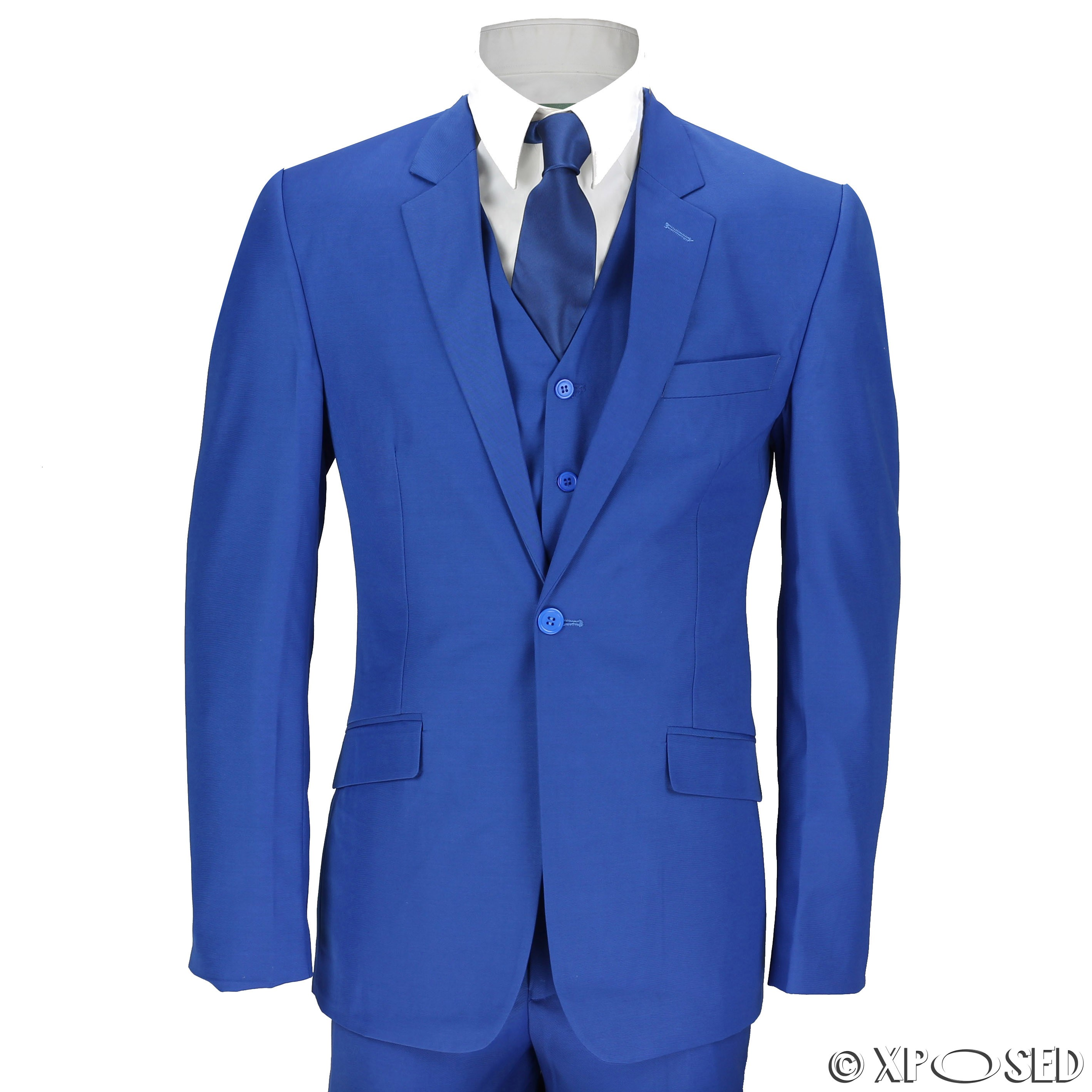 New Mens 3 Piece Suit Royal Blue Tailored Fit Smart Casual Formal ...