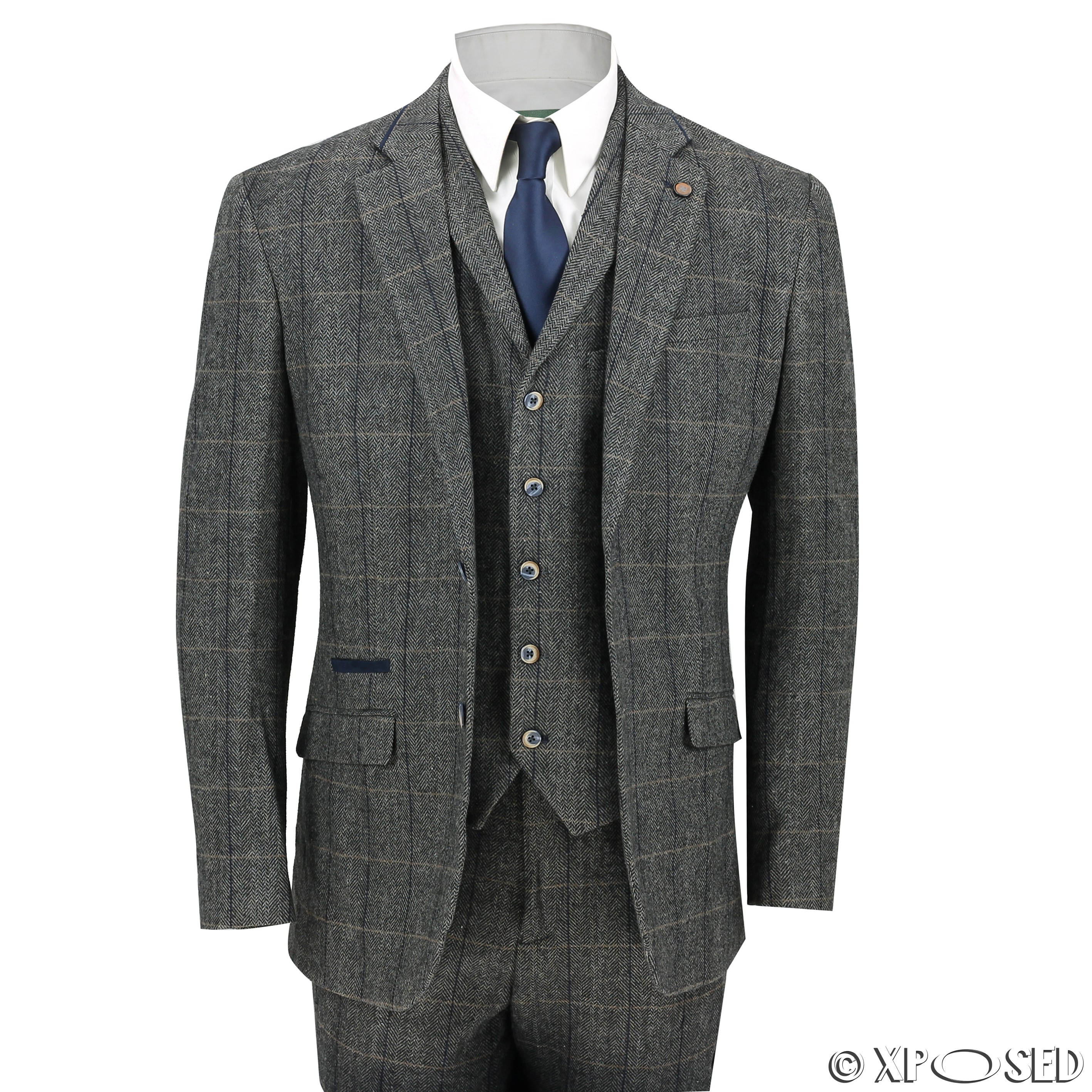 new cavani mens 3 piece tweed suit vintage herringbone grey check retro slim fit ebay. Black Bedroom Furniture Sets. Home Design Ideas