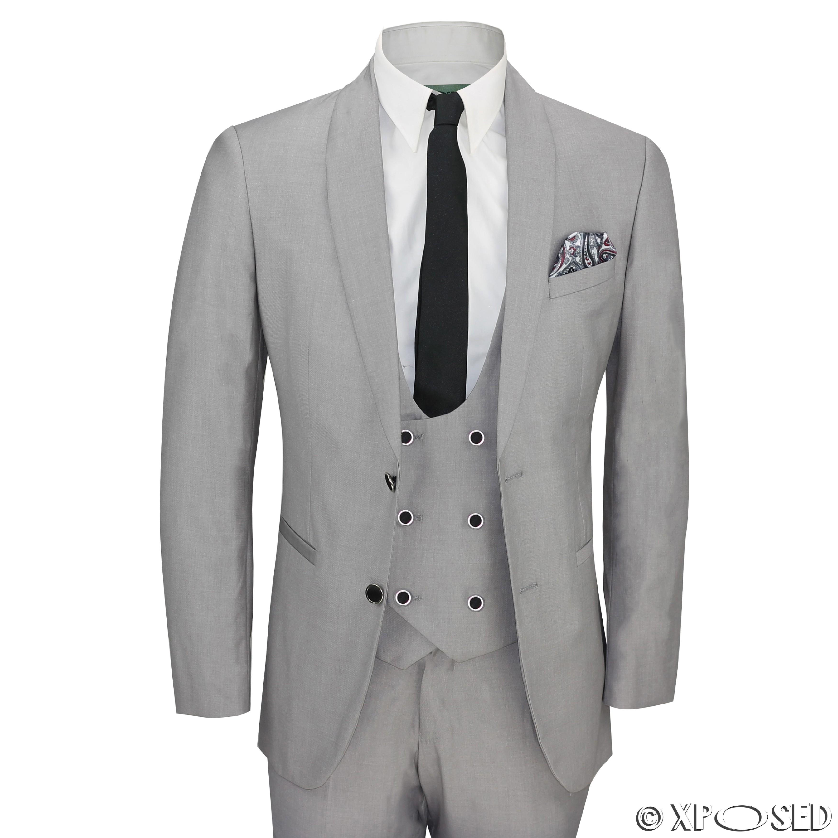 Mens 3 Piece Grey Shawl Lapel Slim Fit Vintage Smart Tux