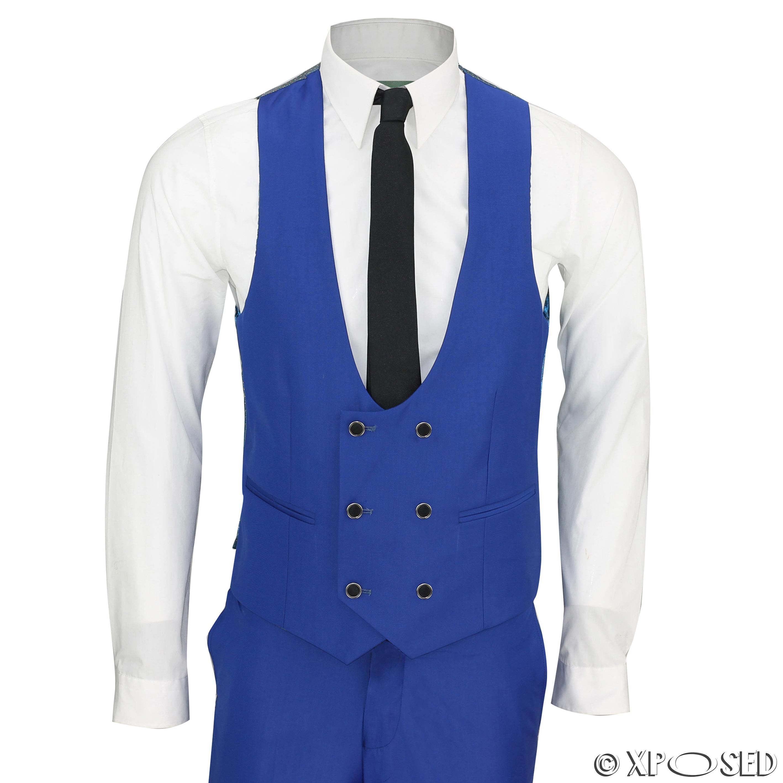 Mens Royal Blue 3 Piece Shawl Lapel Slim Fit Vintage Tux Suit ...