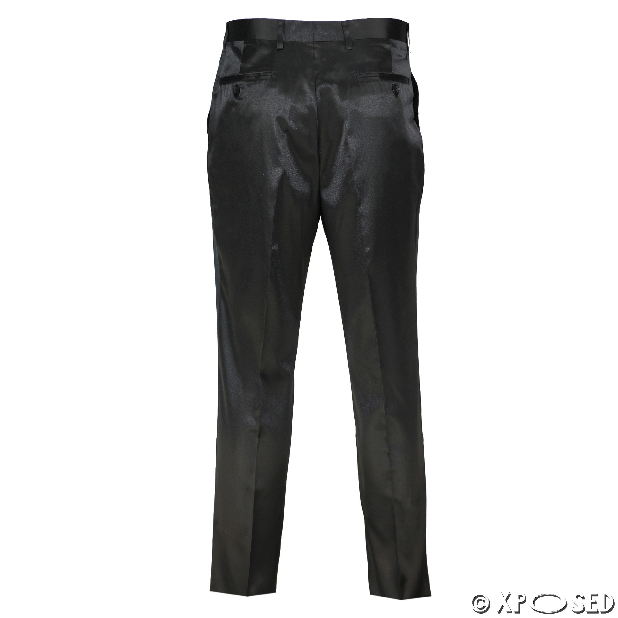 29e18b1ee Mens Silky Feel Satin Shiny Black Slim Fit Trousers Party Weeding ...