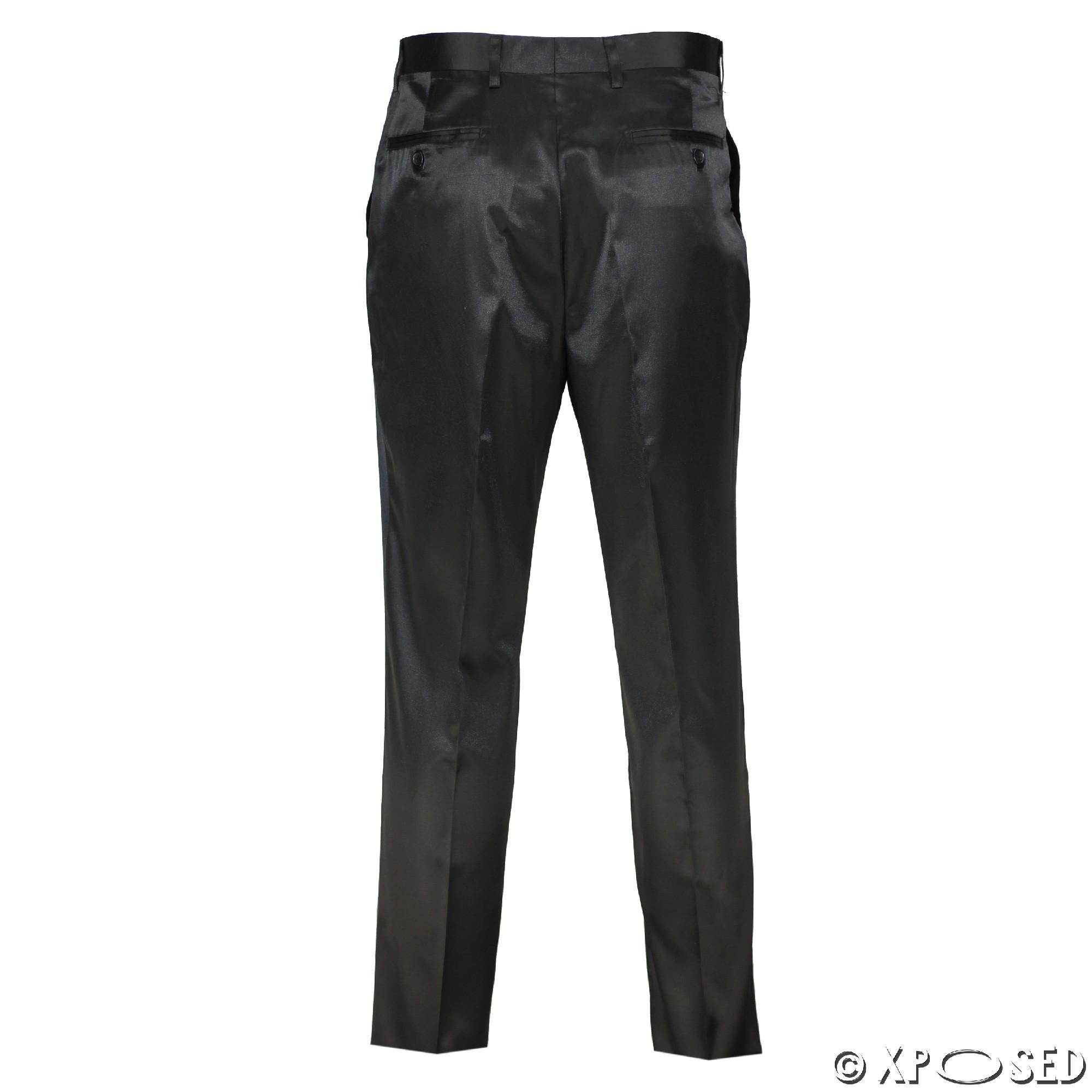 4971834cbf Mens Silky Feel Satin Shiny Black Slim Fit Trousers Party Weeding ...