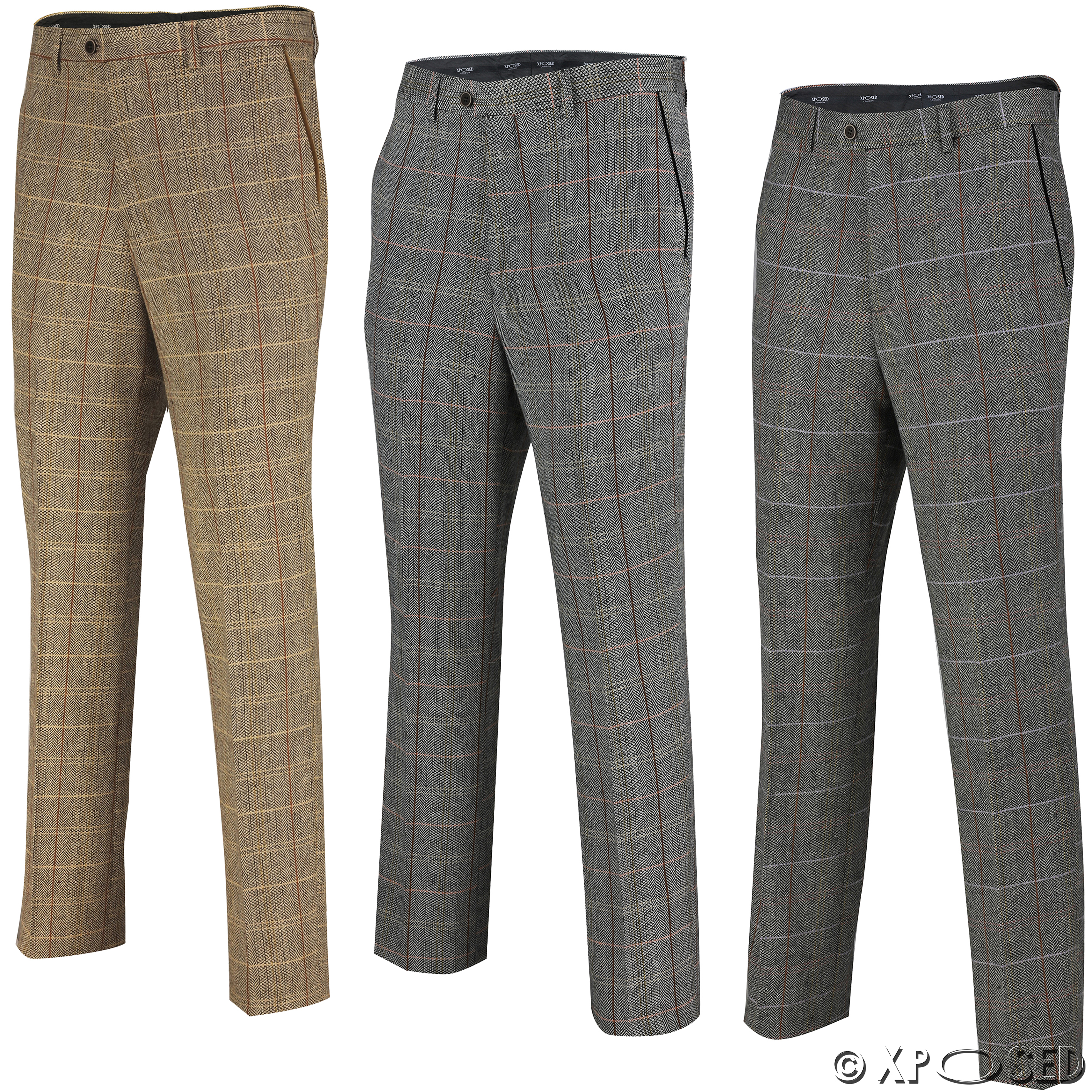 Mens Herringbone Check Trouser Vintage Tweed Slim Fit Smart Formal Pant Tan Grey | EBay