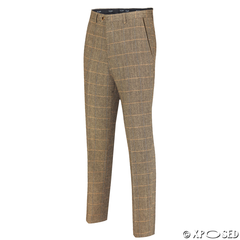 Mens Tweed Check Trouser 1920 Vintage Herringbone Formal Slim Fit Grey Tan Brown | EBay