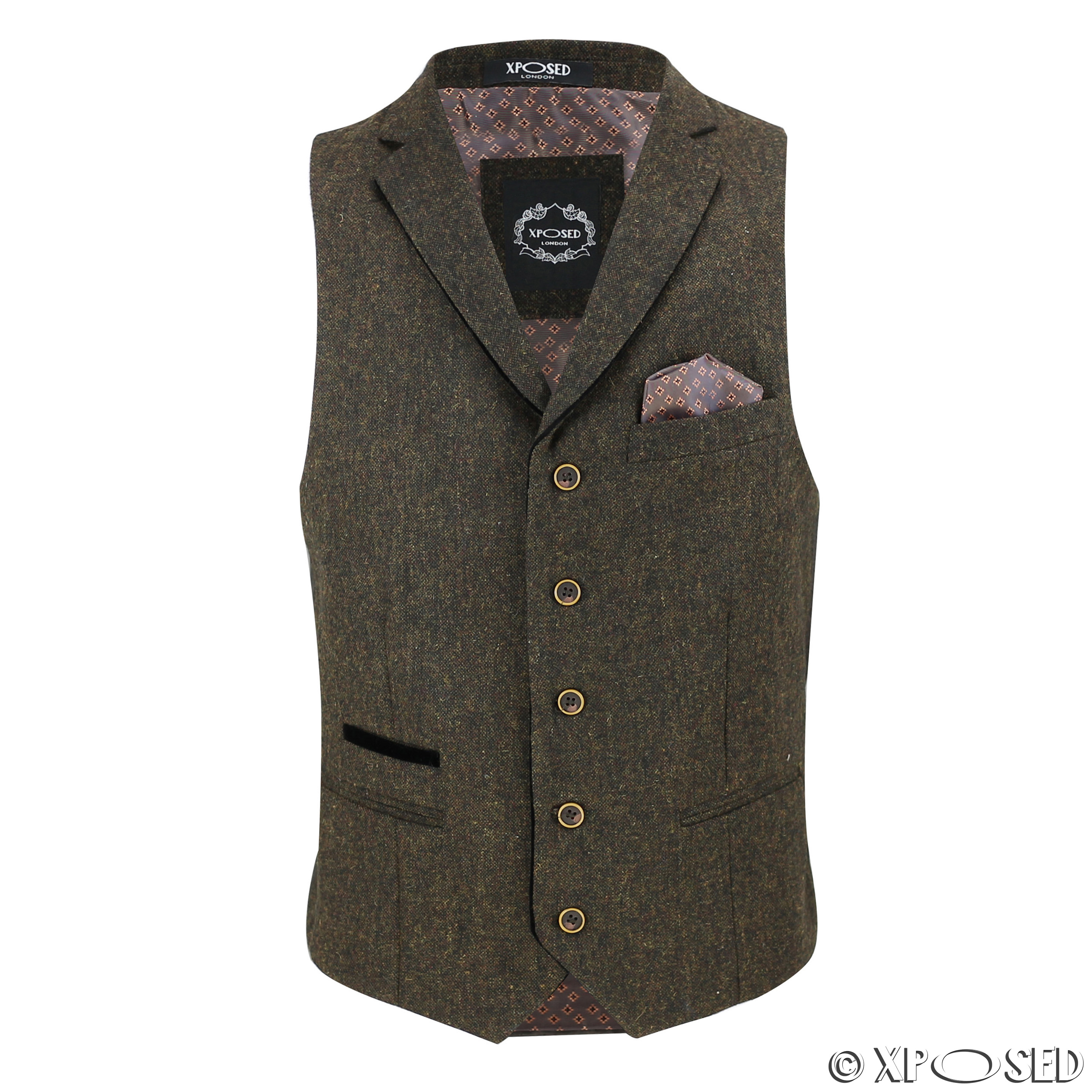 a7d3fca7afc Details about New Mens Wool Mix Herringbone Tweed Vintage Collar Waistcoat  Tailored Fit Vest