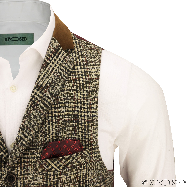 mens vintage waistcoat herringbone tweed check velvet
