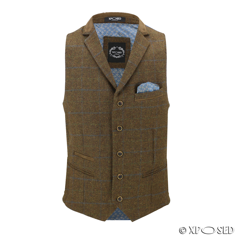 Hombres-Tweed-cheque-3-Piezas-Traje-Chaqueta-Pantalon-Chaleco-se-vende-como-medida-separa miniatura 12