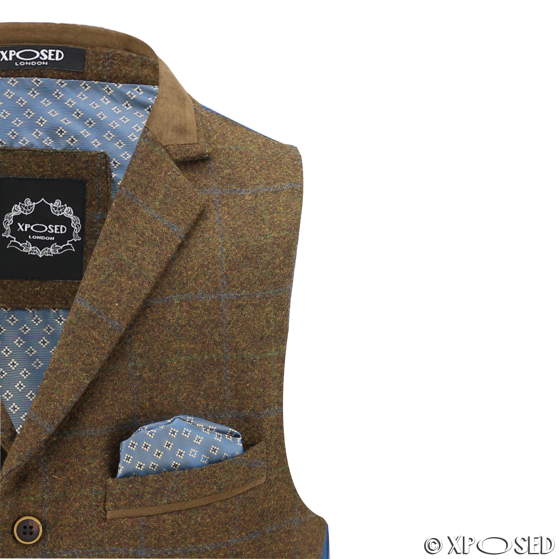 Hombres-Tweed-cheque-3-Piezas-Traje-Chaqueta-Pantalon-Chaleco-se-vende-como-medida-separa miniatura 14