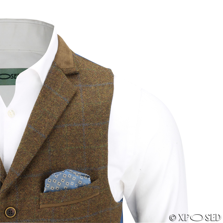 Hombres-Tweed-cheque-3-Piezas-Traje-Chaqueta-Pantalon-Chaleco-se-vende-como-medida-separa miniatura 15