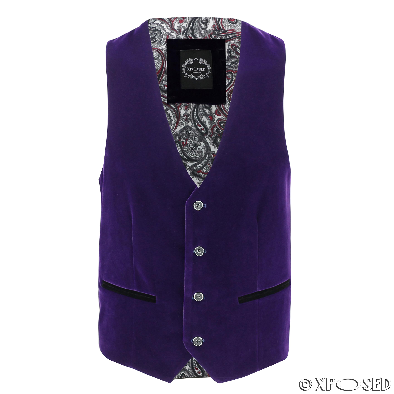 Mens-Purple-Velvet-Vintage-3-Piece-Suit-Tuxedo-Blazer-Coat-Waistcoat-Trouser thumbnail 22