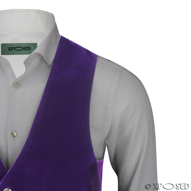 Mens-Purple-Velvet-Vintage-3-Piece-Suit-Tuxedo-Blazer-Coat-Waistcoat-Trouser thumbnail 25