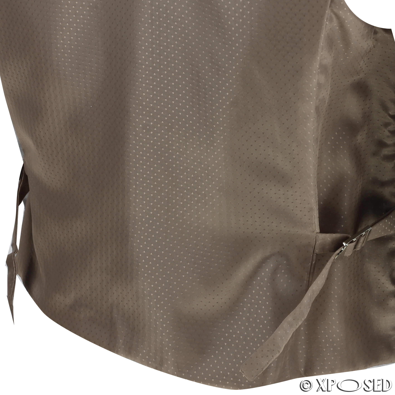 Mens-Vintage-Tweed-Check-Herringbone-Waistcoat-Casual-Retro-Grey-Brown-Green miniatuur 7