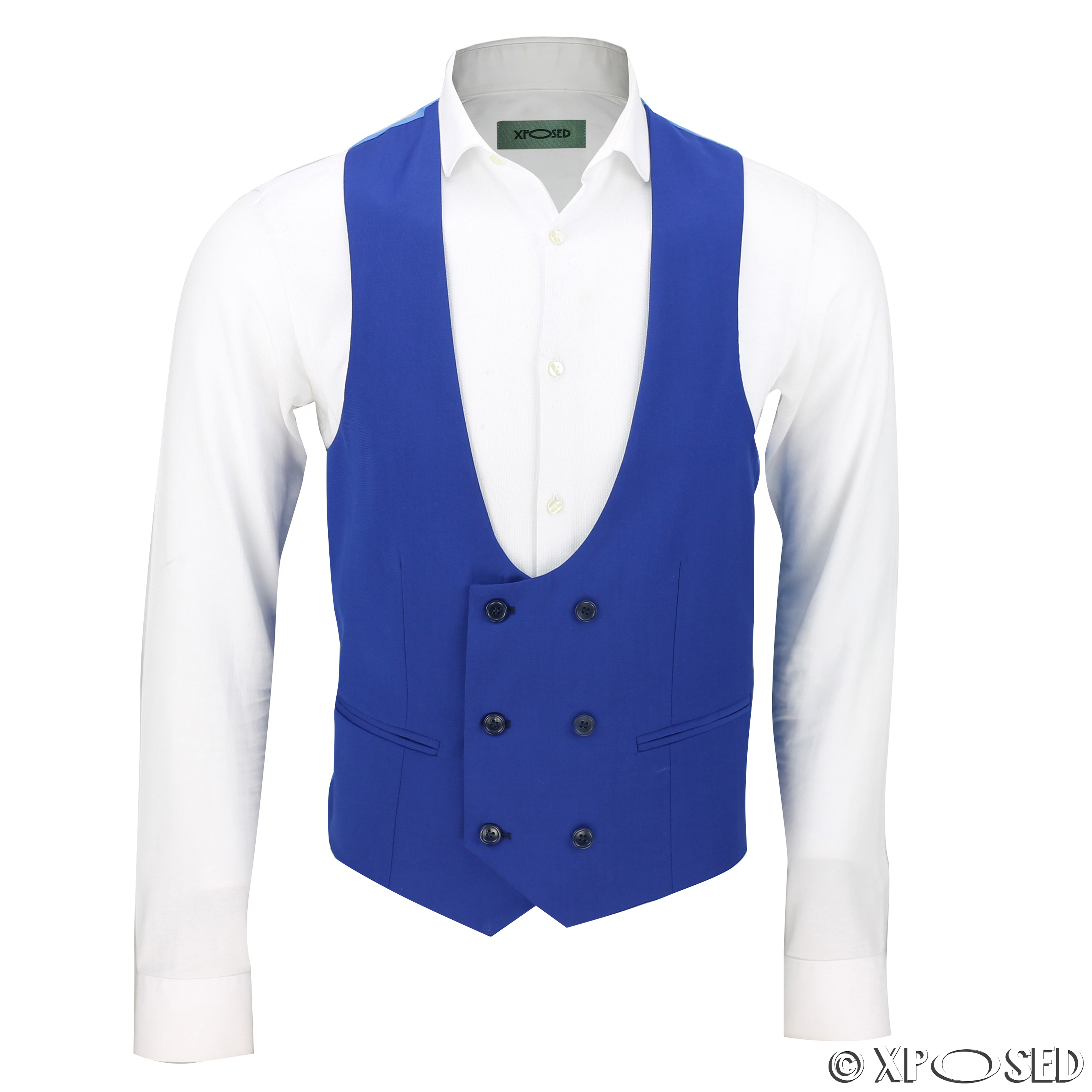 Mens Double Breasted Low U Cut Formal Suit Waistcoat