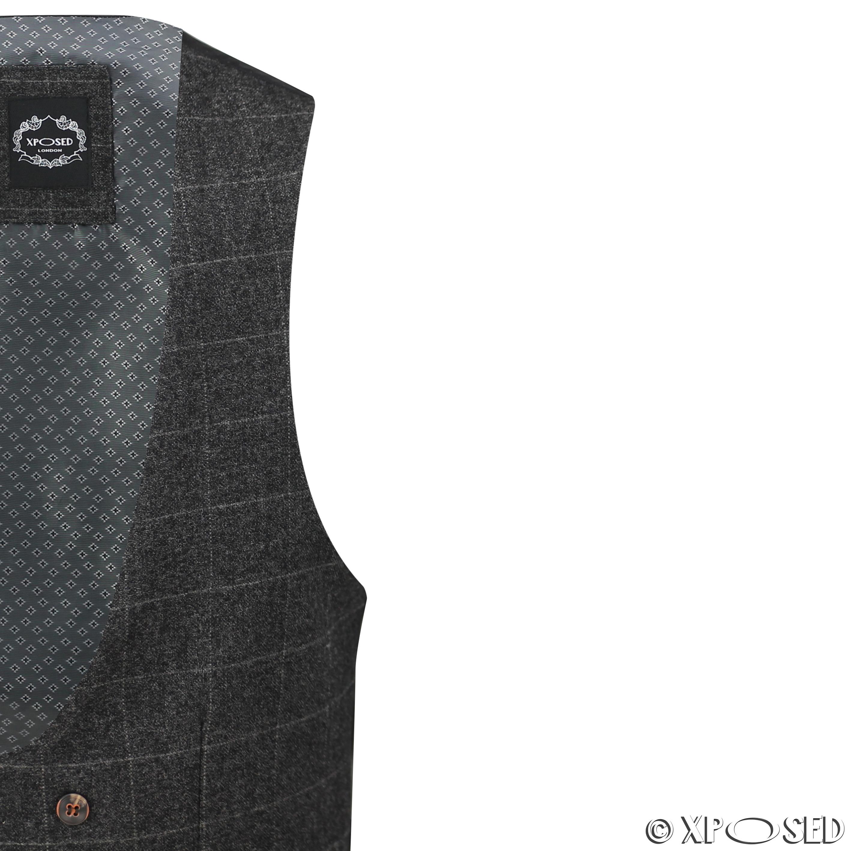 Nuevo-Para-Hombre-Traje-de-3-piezas-de-verificacion-en-gris-se-vende-por-separado-Chaqueta miniatura 23