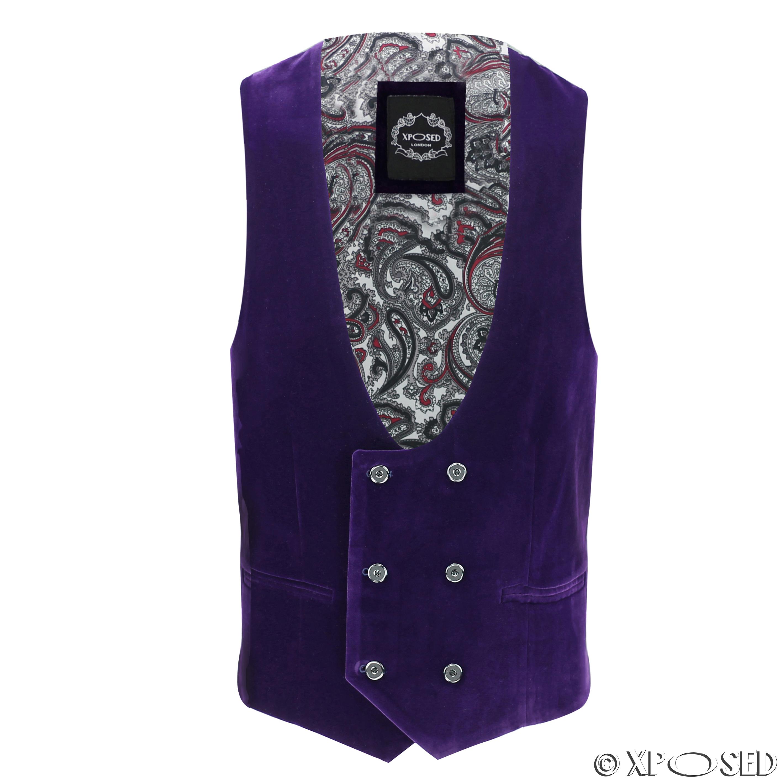 Mens-Purple-Velvet-Vintage-3-Piece-Suit-Tuxedo-Blazer-Coat-Waistcoat-Trouser thumbnail 27